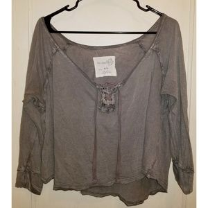 Free People Lace Up Oversized Tee